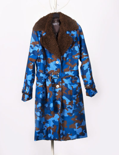Camouflage Blue Waterproof Trench Coat with Shearling Lining