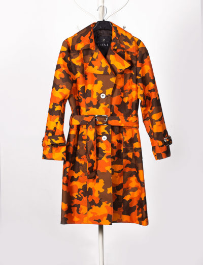 Camouflage Orange Waterproof Trench Coat