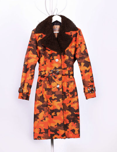 Camouflage Orange Waterproof Trench Coat with Shearling Lining
