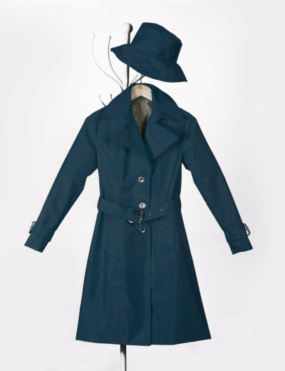 Blue Stewardess Waterproof Trench Coat