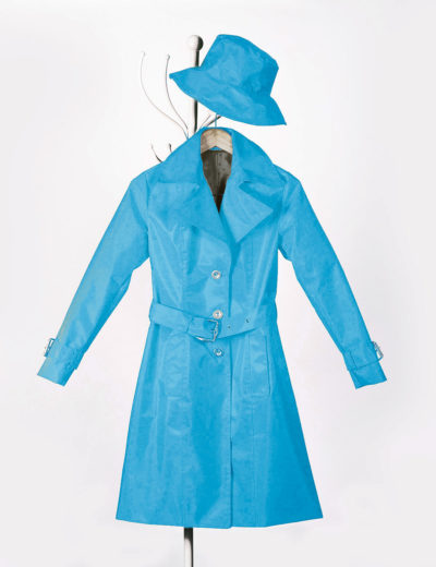 Porcelain Blue Waterproof Trench Coat