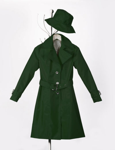 Jade Green Waterproof Trench Coat